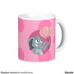 Elephant cartoon classic white coffee mug