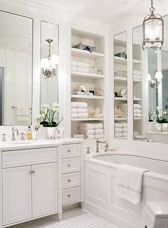 Traditional master bathroom decorating ideas traditional bathroom design ideas home ideas bedrooms bathrooms bathroom bathroom lighting Bathroom Renos, Bathroom Interior, Bathroom Ideas, Bathroom Designs, Bathroom Shelves, Bathroom Mirrors, Bathroom Remodeling, Bathroom Layout, Remodeling Ideas