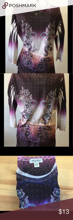 Purple/paisley design fashion T-Shirt 3/4 sleeve slinky T-Shirt in various shades of purple and paisley. Tops Tees - Long Sleeve