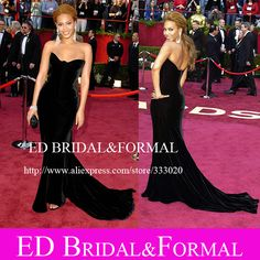 Beyonce Dress at Oscar Red Carpet  Black Velvet Celebrity Inspired Formal Evening Gown Long Fitted Prom Dress