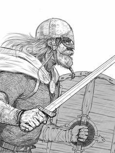 Viking warrior by Manuel Castañón Viking Character, Character Concept, Character Art, Concept Art, Character Design, Viking Art, Viking Warrior, Viking Reenactment, Viking Culture