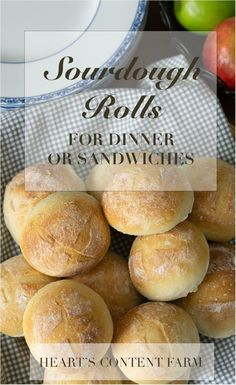 Crusty Sourdough Rolls – Heart's Content Farmhouse - sourdough bread Sourdough Bread Starter, Sourdough Recipes, Sourdough Dinner Rolls, Sourdough Biscuits, Sourdough Rolls Recipe No Yeast, Sourdough Bread Machine, Sourdough Cinnamon Rolls, Sourdough English Muffins, Yeast Bread Recipes