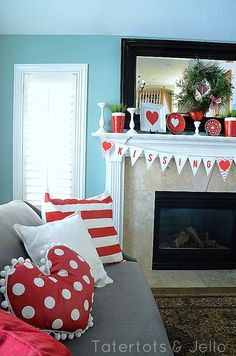 Heart-shaped polka dot pom pom pillow