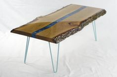 Modern coffee table,made from two pieces of beautifull oak slabs with live edge…