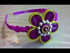 DIY - How to make paper quilled hair band, paper quilling flower tutorial - YouTube