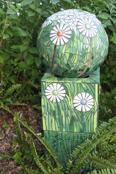 Flower Ball - Mosaic Sphere and stand. I have to try to make this thinking recycled bowling ball on wood & stand.