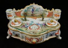 Antique 19th C French Porcelain Inkwell w Candle Holders Hand Painted Scenes | eBay