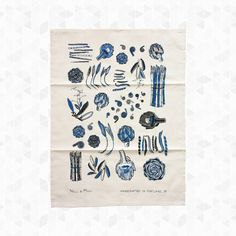 Spring Vegetables Tea Towel. Tendrils, thistles, peas, and more, grace this fresh Spring Vegetable Tea Towel that will enliven your kitchen and table. Hand printed with indigo and charcoal water based ink, hemmed on 4 sides with a loop for hanging. 100% organic cotton, hand crafted in Portland, Oregon. By Nell & Mary, $20.