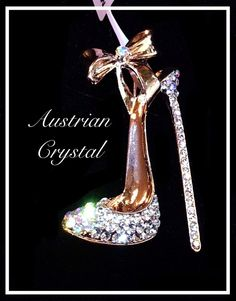 Austrian Crystal High Heel Brooch Pin Rose Tone Hi Fashion | eBay