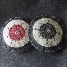 lino cut printed fabric by ruby victoria, via Flickr