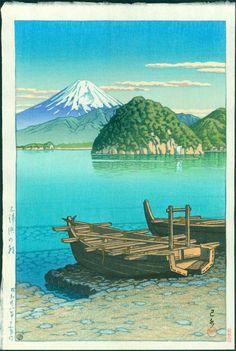HASUI Japanese Woodblock Print SUMMER MORNING AT MITOHAMA LAKE 1953