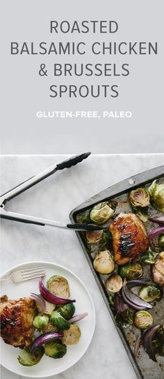 (gluten-free, paleo) An easy balsamic chicken recipe that's bursting with flavor and cooked on one pan with roasted brussels sprouts and onions. A healthy dish that's sure to be a family favorite.