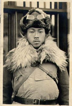 Japanese army soldier in winter uniform, early-mid 1930s, Manchuria.