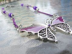 Purple and Silver Butterfly Pendant Necklace