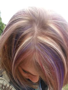 foils blonde, red, and purple