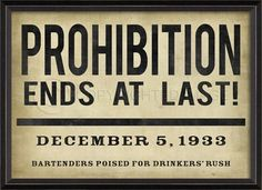 Prohibition ends at last! An idea for the bar area?