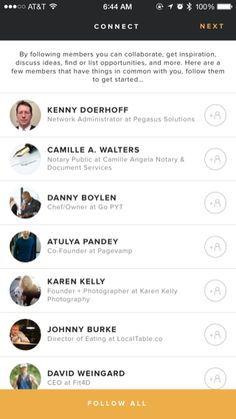 WeWork iPhone lists screenshot
