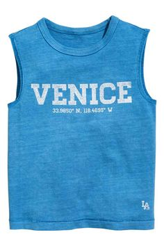 Printed vest top - Blue washed out - Kids | H&M