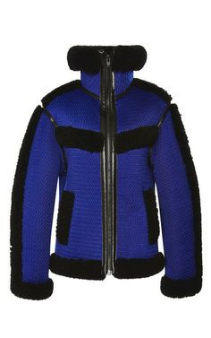Mesh Bonded Shearling Track Jacket by Alexander Wang for Preorder on Moda Operandi