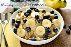 Busy Mom Committed to Getting Healthy: Healthy Breakfast Recipe: Blueberry Banana Nut Oatmeal