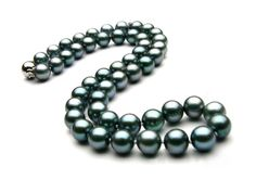 Pearl Strands - Lady's Single Strand Black Tahitian Pearls With Pearls. Black Pearl Jewelry, Tahitian Black Pearls, Jewelry Showcases, Pearl Necklace, White Gold, Beaded Bracelets, Jewels, Strands, Green