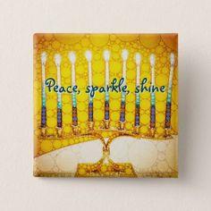 Peace Sparkle Shine Yellow Hanukkah Menorah Photo Pinback Button - light gifts template style unique special diy