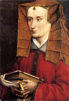 Portrait of Louise of Savoy as Sibylla Agrippa, Jacques Daret 1400s. not often you see colored veils.