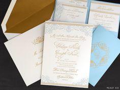 We love this whimsical invitation with petite pocket folder! | East Six | eastsix.com