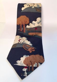 Peanuts Snoopy Golfing Woodstock Caddy Meet Me at The Masters Mens Golf Tie    eBay
