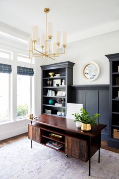 Study | Built-in Bookcases with Panelling | White Walls | Brass Chandelier | Foothill Drive Office | Studio McGee