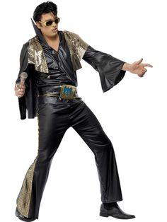 Glamour-Elvis. Mustasävyinen Elvis-naamiasasu tihkuu silkkaa Las Vegas-glamouria. Tässä naamiaisasussa sopii juhlia niin teemabileissä kuin muissakin naamiaisissa. Hyvännäköinen asukokonaisuus voi olla myös vaikka merkkipäiväänsä viettävän herrasmiehen juhla-asu.