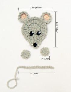 Mouse Applique Crochet Mouse Hat Applique Animal Motif by 2mice