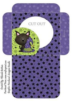 Witchy Kitty Cookie Pocket 1 on Craftsuprint designed by Rhonda Brittain - These cookie pockets are easy to put together and a great idea to put cookies, biscuits or some lollies/treats in for halloween - Now available for download!