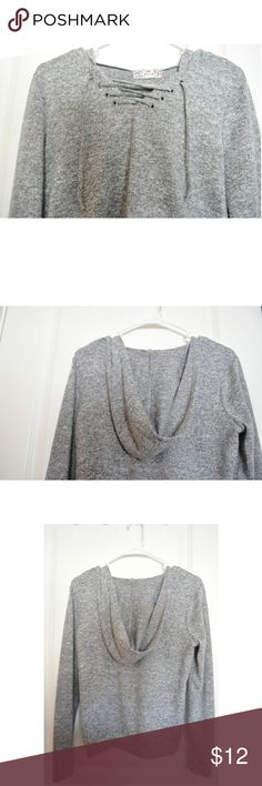Lightweight, Soft, Lace-Up, Hooded Sweater ••Grey/White PERFECT CONDITION••  I received this piece as a Christmas gift last year.  Very comfy! Has more of a spandex feel on the inside. Goes well with leggings or washed out jeans.  88% Polyester  9% Rayon  3% Spandex  Smoke free/Pet free home Pink Republic Tops Sweatshirts & Hoodies