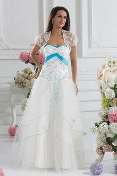 A-Line Sweetheart Satin Tulle Floor Length Sequins Wedding Dress