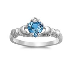 Irish Claddagh Heart Promise Ring 925 Sterling Silver Round CZ More Color