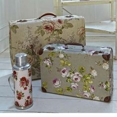 modge podge ideas | modge podge fabric over an old suitcase by Janice Brown