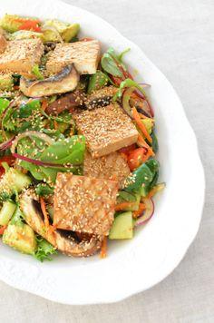 Easy Tofu Marinade:  350g extra-firm tofu  4 tablespoons extra-virgin olive oil  1 tablespoon apple cider vinegar  1 tablespoon tamari  pepper, to taste
