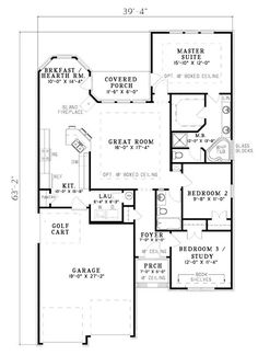 Like the layout.  Remove the 3rd bedroom and the kitchen wall to open up to the family room.  Move master up a few feet, flip 2nd bathroom to be parallel to master bath.  Make dining bigger by removing covered porch.