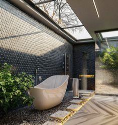 Bathroom Design Luxury, Home Interior Design, Interior Decorating, Organic Architecture, Interior Architecture, Amazing Architecture, Outdoor Bathrooms, Bathroom Lighting, New Homes