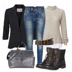Herbst-Outfits: FridayMood bei FrauenOutfits.de ___ Dieses schicke Outfit eignet sich sowohl für ein tolles Abendessen als auch fürs Büro. Die Einzelteile passen super zusammen und ergeben einen femininen Look. #frauenoutfit #damenoutfit #bürooutfit #business #fashion #mode #inspiration