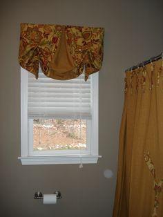 hall bath valance and monogrammed shower curtain