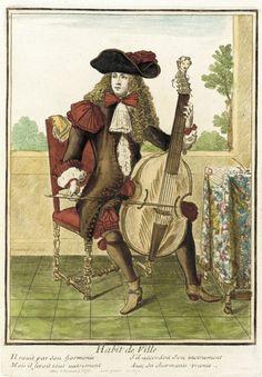 Recueil des modes de la cour de France, 'Habit de Ville' Nicolas Bonnart (France, 1637-1717) France, Paris, circa 1664-1675 Prints Hand-colored engraving on paper Sheet: 14 3/8 x 9 3/8 in. (36.51 x 23.81 cm); Composition: 10 x 7 in. (25.4 x 17.78 cm) LACMA Collections