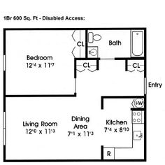 disabled access floor plans 600 sq ft - Home Plan Designer