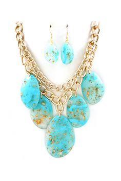 Turquoise Gold Flake Concord Necklace