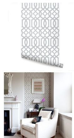 Modern Trellis Gray Peel and Stick Wallpaper - Wall Sticker Outlet Wall Stickers Living Room, Wallpaper Bedroom, Accent Wall Bedroom, Home Decor Bedroom, Living Dining Room, Accent Walls In Living Room, Peel And Stick Wallpaper, Home Decor, Grey Wallpaper Living Room
