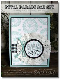 handmade card ... white and aqua with black accents ... luv the layered focal point medallion with crumpled doily base ... great use of aqua string ... wonderful card! ... Stampin' Up!