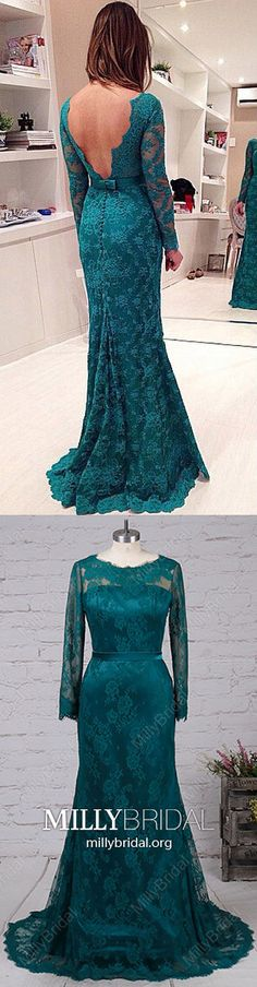 Long Prom Dresses with Sleeves,Dark Green Prom Dresses Mermaid,Modest Prom Dresses Lace,Long Sleeve Prom Dresses Backless with Buttons