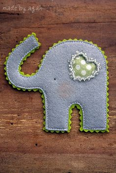 Good Luck Elephant Brooch by made by agah, via Flickr