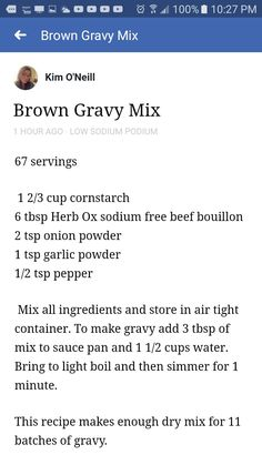 Low sodium gravy